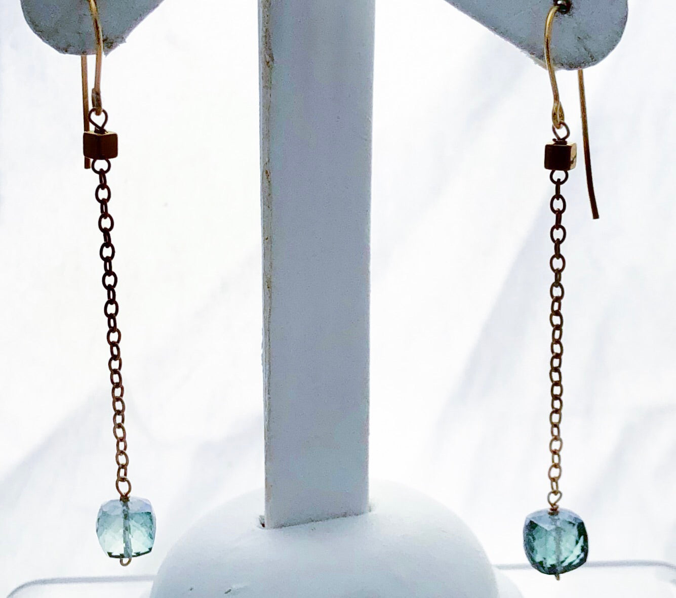 Vermeil Blue Green Quartz Cube Earwire Earrings - CE0028