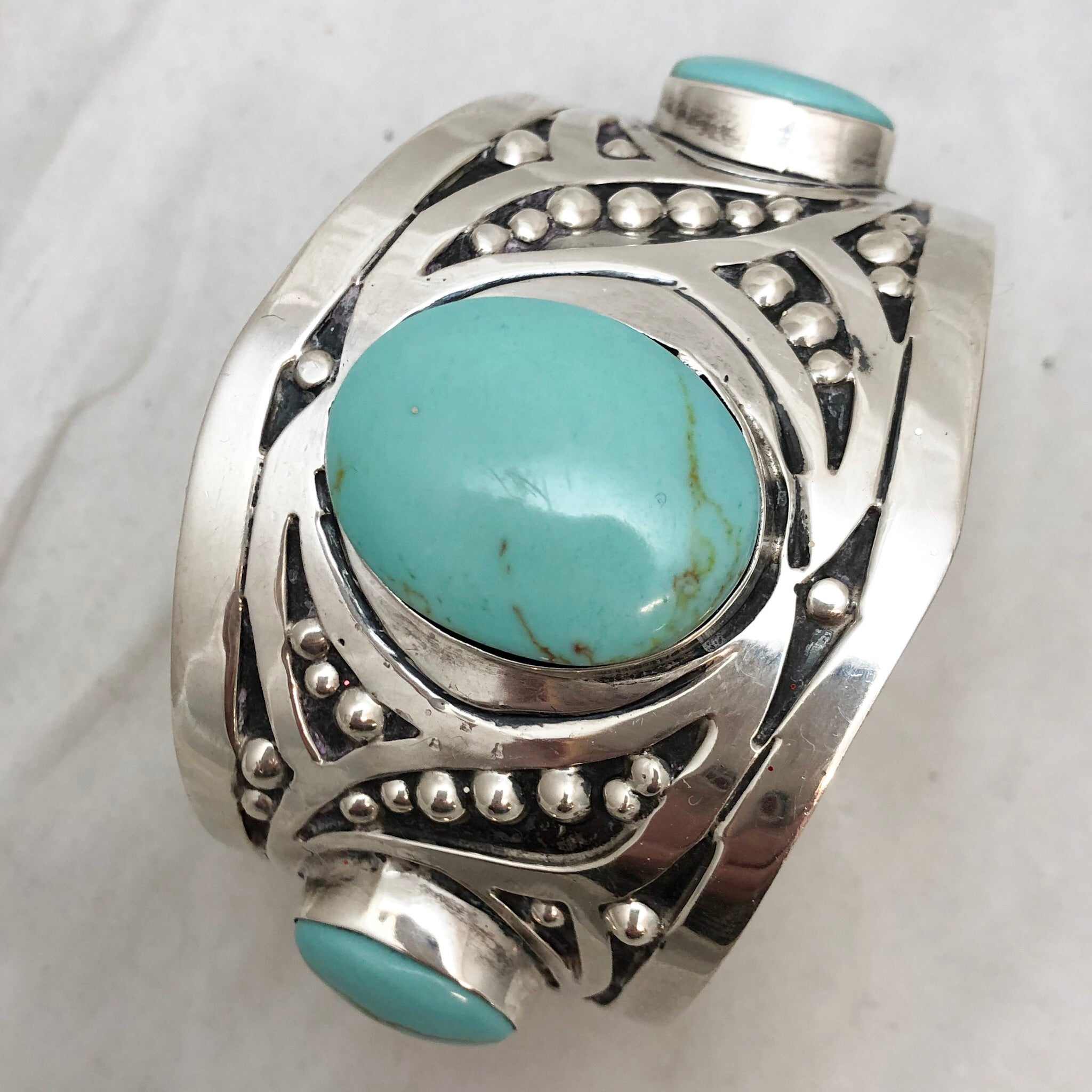 SS Wide 3 Turquoise Cuff Bracelet  CB0023