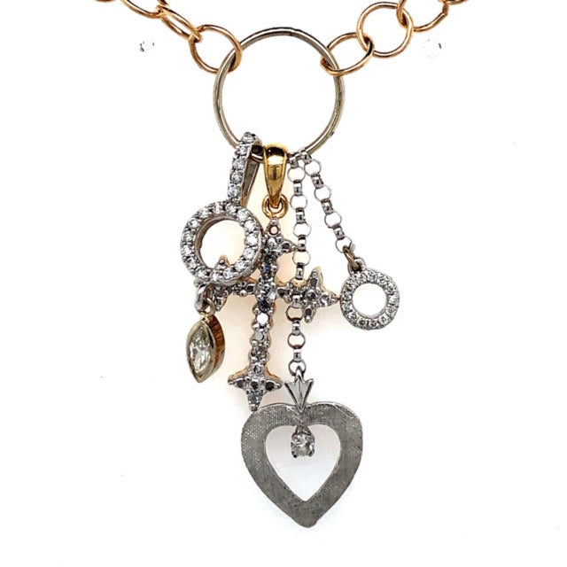 Yellow Gold/White Gold Diamond Hope Charm Necklace  CX0030