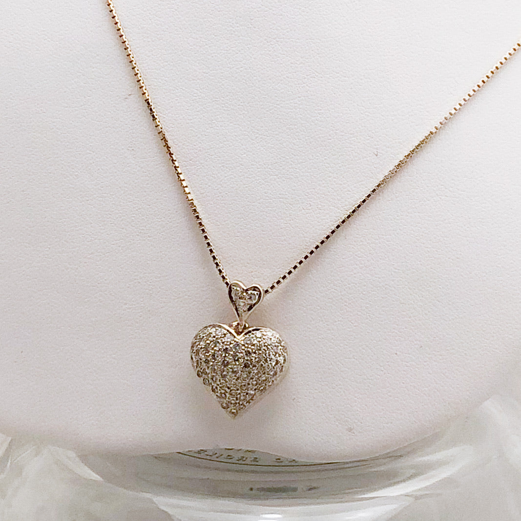 14K Yellow Gold Heart Pave Diamond Necklace   CN0057
