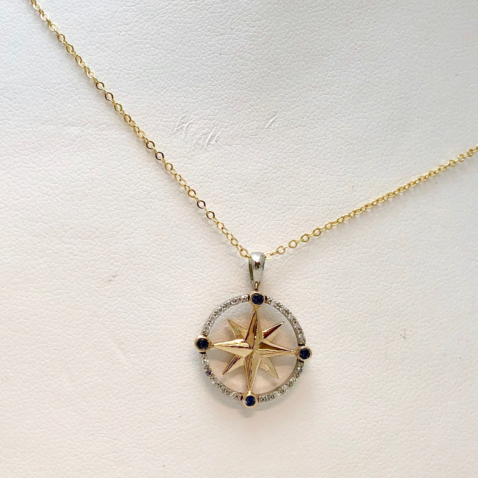 The Touch 14K YG Diam Sapphire Compass Rose Necklace SI0059