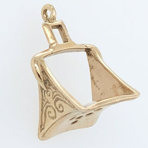 14K Yellow Gold White Horse Collection Arabian Stirrup Charm   WHC0010