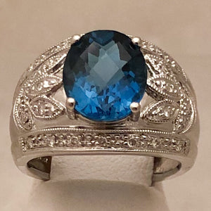 14K Art Deco Style White Gold Ring with 9x11mm Oval London Blue Topaz   CR0107