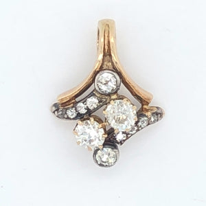 14K Yellow Gold White Gold Multi Old Cut Diamond Pendant  CPEND0029