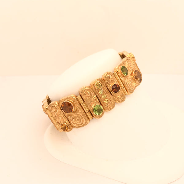 Handmade 18K Yellow Gold Link Bracelet Loaded with Gemstones  CB0060