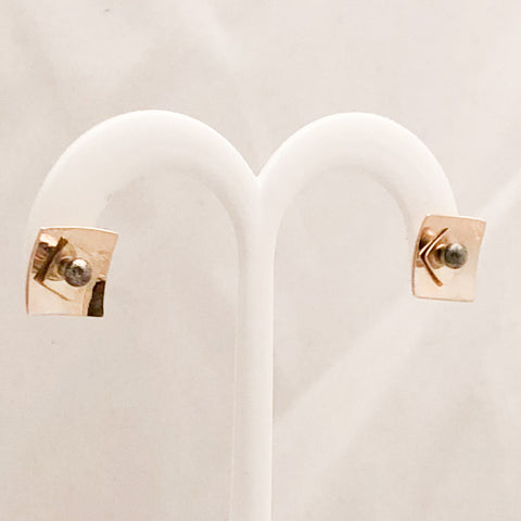 Sterling Silver/10K Yellow Gold Stud Earrings   SI0105