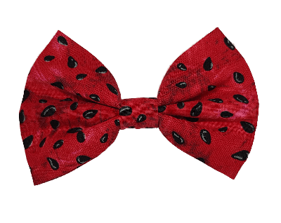 Fabric Rockabilly Hair Bow - Bright Pink and Black