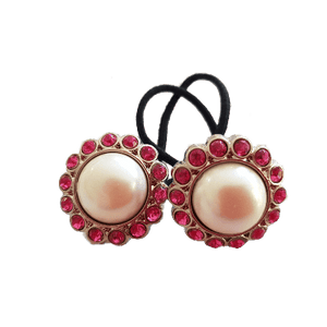 Pigtail Hairband Toggles - Natural Pearl and Bright Pink (pair)