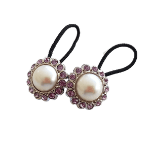Pigtail Hairband Toggles - Natural Pearl and Light Purple (pair)
