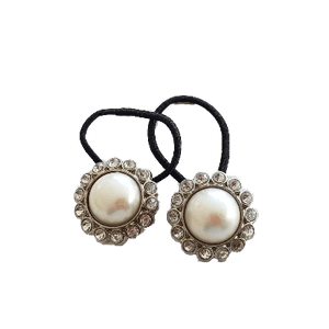 Pigtail Hairband Toggles - Natural Pearl Silver (pair)
