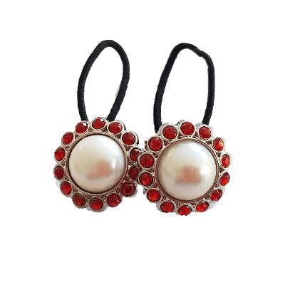 Pigtail Hairband Toggles - Natural Pearl and Red (pair)