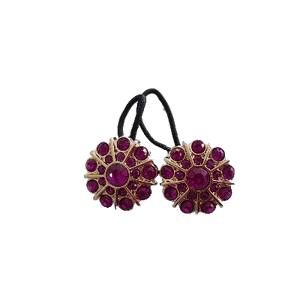 Pigtail Hairband Toggles - Purple Double Row Flower (pair)