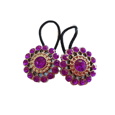 Pigtail Hairband Toggles - Purple Sparkle (pair)
