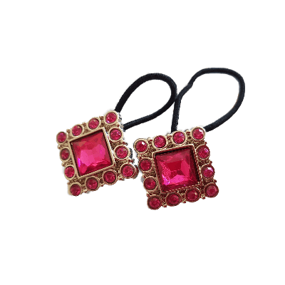 Pigtail Hairband Toggles - Bright Pink and Silver Square (pair)