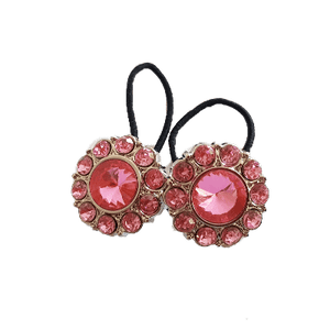 Pigtail Hairband Toggles - Pink and Silver Daisy (pair)