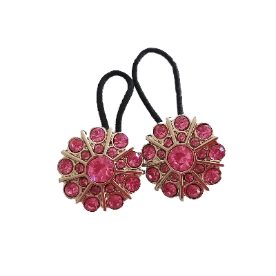 Pigtail Hairband Toggles - Pink Double Row Flower (pair) - Pinkberry Kisses
