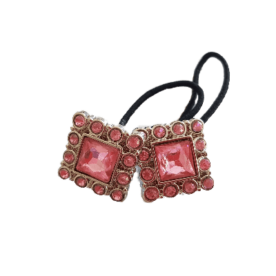 Pigtail Hairband Toggles - Pink and Silver Square (pair)