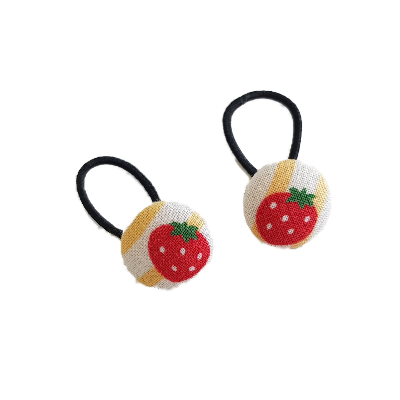 Pigtail Hairband Toggles - Strawberry Striped (pair)
