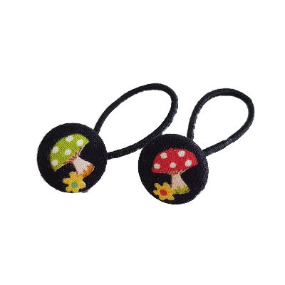 Pigtail Hairband Toggles - Colourful Mushrooms (pair)