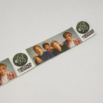22mm (7/8) 5 Seconds of Summer SOS Printed Grosgrain Ribbon by the meter
