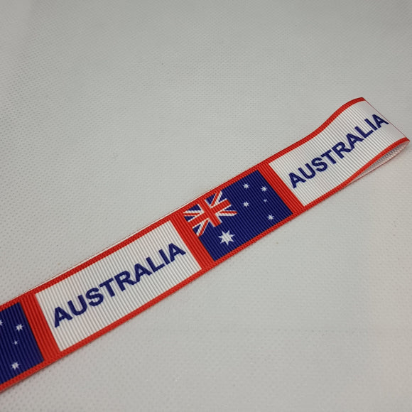 22mm (7/8) Australia Printed Grosgrain Ribbon by the meter