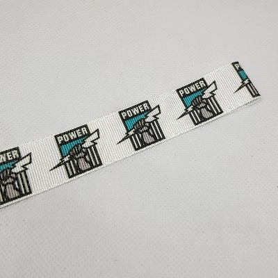 22mm (7/8) AFL Port Adelaide Power Printed Grosgrain Ribbon by the meter