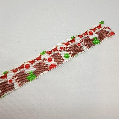22mm (7/8) Christmas Gingerbread Man and Candy Canes Printed Grosgrain Ribbon by the meter