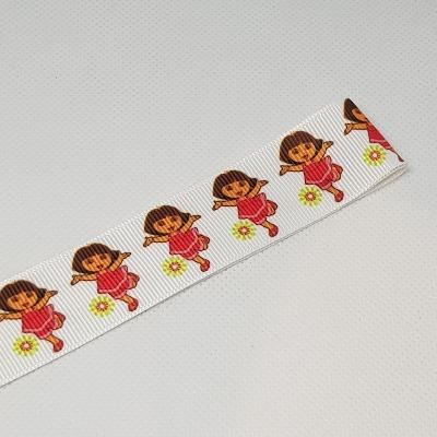 22mm (7/8) Dora Printed Grosgrain Ribbon by the meter Pinkberry Kisses