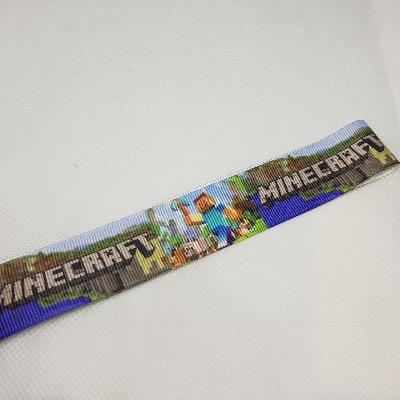 22mm (7/8) Minecraft Printed Grosgrain Ribbon by the meter