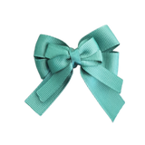 amore bow double layer colour school uniform hair clip school hair accessories hair bow baby girl pinkberry kisses Hunter Green  ivory cream