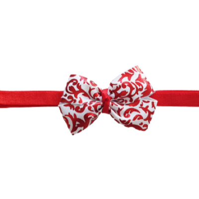 Baby and Toddler Soft Headband - Christmas Red Shiny Holly Bow Hair Accessories Pinkberry Kisses
