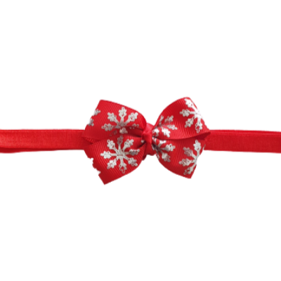 Baby and Toddler Soft Headband - Christmas Red Snowflake Bow Christmas Hair Accessories Pinkberry Kisses