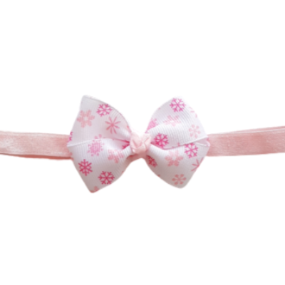 Baby and Toddler Soft Headband - Pink Snowflakes Christmas Hair Accessories Pinkberry Kisses