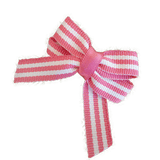 Baby and Toddler non slip hair clips - hot pink and white stripes