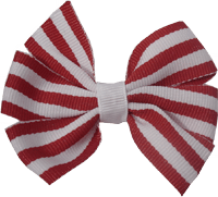 Chica Hair Bow Clip - Red Stripes