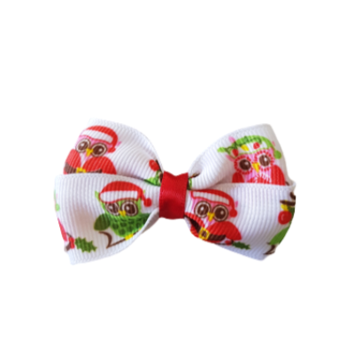 Christmas hair accessories - Cherish Hair Bow Christmas Owls Hair accessories for girls Hair accessories for baby - Pinkberry Kisses