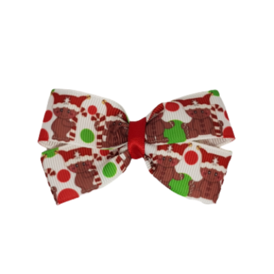 Christmas hair accessories - Cherish Hair Bow Christmas Gingerbread Man and Candy Canes Hair accessories for girls Hair accessories for baby - Pinkberry Kisses