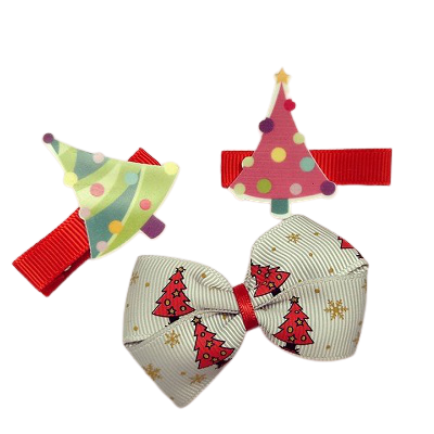 Christmas hair accessories - Cherish Hair Bow Christmas Tree Hair Set -accessories for girls Hair accessories for baby - Pinkberry Kisses