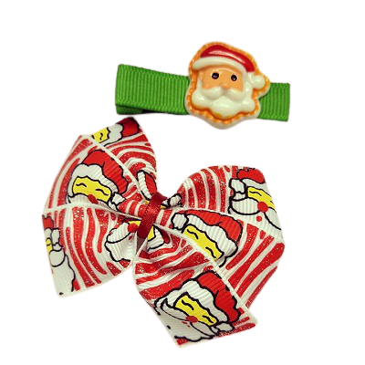 Hair accessories for girls Hair accessories for baby - Pinkberry KissesChristmas hair accessories - Bella Bow and clip set Red Santa