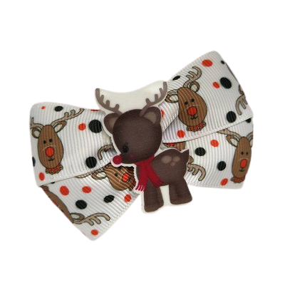 Christmas hair accessories - Cherish Hair Bow Reindeer Hair accessories for girls Hair accessories for baby - Pinkberry Kisses