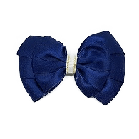 Double Bella Hair Bow Satin - Navy