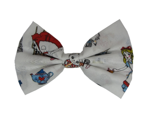 Fabric Rockabilly Hair Bow - Alice in Wonderland Pinkberry Kisses
