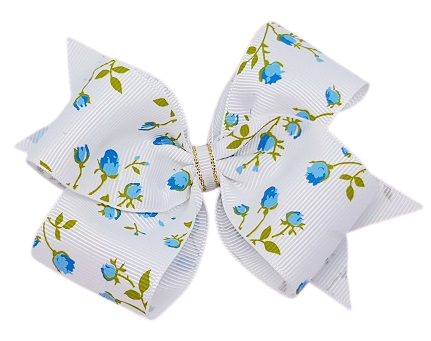 Hair bows for adults timeless collection - blue and White flowers