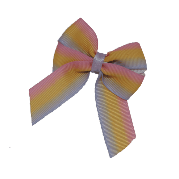 Amore Hair Bow - Pastel Striped  6.5cm (w)