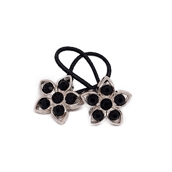 Pigtail Hair Band Toggles - Black Flower