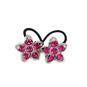Pigtail Hair Band Toggles - Pink Flower