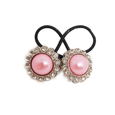 Pigtail Hair Band Toggles - Pink Pearl