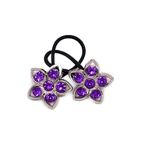 Pigtail Hair Band Toggles - Purple Flower
