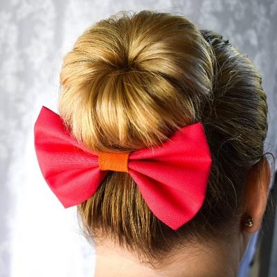 Rockabilly pin up fabric hair bow - hot pink with orange