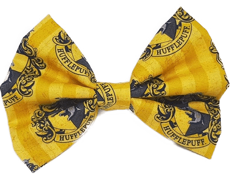 Rockabilly pin up fabric hair bow - harry potter hufflepuff